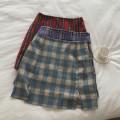 skirt Summer 2020 S,M,L Fog blue, taro purple, retro red Short skirt Versatile High waist A-line skirt lattice Type A 51% (inclusive) - 70% (inclusive) other cotton