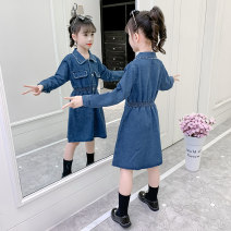 Dress Navy, blue female Other / other 110cm,120cm,130cm,140cm,150cm,160cm Cotton 70% polyester 30% spring and autumn lady Long sleeves Solid color Cotton denim A-line skirt Four, five, six, seven, eight, nine, ten, eleven, twelve, thirteen