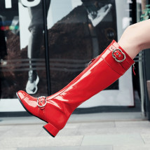 Boots 34 35 36 37 38 39 40 41 42 43 Red and black top layer leather Other / other Middle heel (3-5cm) Flat bottom top layer leather Over the knee Square head Artificial short plush Artificial short plush Winter 2017 rubber Patent leather 003