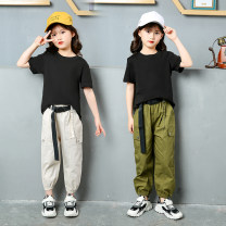 suit Other / other White, army green 110cm,120cm,130cm,140cm,150cm,160cm female summer Korean version Short sleeve + pants 2 pieces Thin money There are models in the real shooting Socket nothing Solid color cotton elder Expression of love Class B Cotton 80% bamboo fiber 20% Chinese Mainland