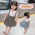 Dress female Other / other Cotton 95% other 5% summer Korean version Short sleeve Broken flower cotton A-line skirt Class B 18 months, 2 years old, 3 years old, 4 years old, 5 years old, 6 years old, 7 years old, 8 years old Chinese Mainland Zhejiang Province Huzhou City Blue, black