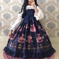 Dress Autumn of 2019 Light blue, black, light purple, light pink, cyan S,M,L Middle-skirt singleton  Sweet High waist Decor Socket Princess Dress camisole printing Lolita