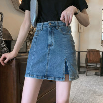 skirt Summer 2021 S,M,L Retro Blue Short skirt commute High waist A-line skirt Solid color Type A 18-24 years old 9065# Denim Other / other Korean version