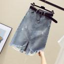skirt Summer 2020 S,M,L,XL,2XL blue longuette commute High waist Denim skirt Solid color Type A More than 95% Denim Ocnltiy other Korean version