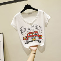 T-shirt White, black S,M,L,XL,2XL,3XL Summer 2021 Short sleeve V-neck easy Regular routine commute cotton 96% and above Korean version youth Ocnltiy Printing, splicing