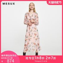 Dress Autumn of 2019 Pink XS/155 S/160 M/165 Mid length dress singleton  Long sleeves Sweet V-neck middle-waisted Socket other routine Others 30-34 years old Mesux / MI Xiu MHFUO621 More than 95% polyester fiber Polyester 100% Same model in shopping mall (sold online and offline)