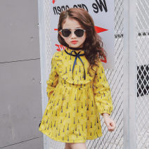 Dress Yellow 830000 female Maidou story 7 is suitable for height 95-105, 9 is suitable for height 105-110, 11 is suitable for height 110-115, 13 is suitable for height 115-120, 15 is suitable for height 120-125, 7-15 is a multiple of 5 Cotton 65% other 35% spring Korean version Solid color cotton