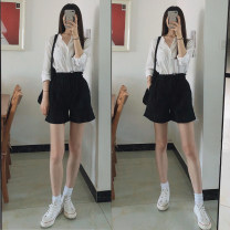 Casual pants Black, white, off white, pink, Navy, khaki, olive S,M,L,XL Summer 2020 shorts Wide leg pants High waist commute Thin money 51% (inclusive) - 70% (inclusive) Other / other cotton bow cotton