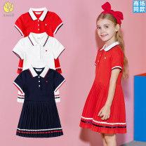 Dress female Annil / anel 110cm,120cm,130cm,140cm,150cm,160cm,170cm Cotton 100% summer Pure cotton (100% cotton content) Pleats Class B 2, 3, 4, 5, 6, 7, 8, 9, 10, 11, 12, 13, 14 years old