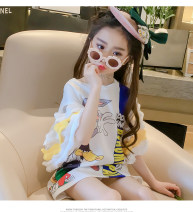 Dress female Other / other 100cm,110cm,120cm,130cm,140cm,150cm,160cm,170cm Other 100% summer Europe and America Short sleeve Cartoon animation polyester fiber A-line skirt 2, 3, 4, 5, 6, 7, 8, 9, 10, 11, 12, 13, 14 years old