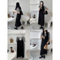 Dress Summer 2021 black S, M Mid length dress Two piece set Sleeveless commute V-neck High waist Solid color Socket other other camisole 25-29 years old Type H Other / other Korean version 30% and below Chiffon polyester fiber
