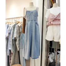 Dress Summer 2021 blue S, M longuette singleton  Sleeveless commute square neck High waist Solid color A-line skirt other Others 25-29 years old Type A Other / other Korean version 30% and below Denim cotton