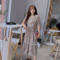 Women's large Spring 2021, summer 2021 Black, apricot Large XL, large XXL, large XXL, large XXXXL, large XXXXL Dress singleton  commute Self cultivation moderate Socket Short sleeve Plants and flowers lady other Medium length polyester routine Medium length