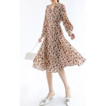 Dress Spring 2021 Beige S, M Mid length dress singleton  V-neck High waist A-line skirt Other / other 51% (inclusive) - 70% (inclusive) other
