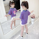 T-shirt Angel in pure clothes 110cm,120cm,130cm,140cm,150cm,160cm female spring and autumn Short sleeve Crew neck leisure time There are models in the real shooting nothing other stripe Other 100% Class B other Chinese Mainland tassels Zhejiang Province Huzhou City
