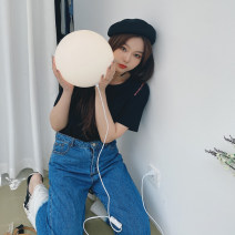 Women's large Spring 2021 White, black Large XL, large XXL, large XXL, large XXXXL, large XXXXL T-shirt singleton  commute easy thin Socket Short sleeve Solid color Korean version Crew neck routine cotton routine 3.15 shoulder letter half sleeve 91% (inclusive) - 95% (inclusive)