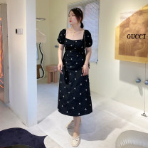 Women's large Summer 2021 black Large XL, large XXL, large XXL, large XXXXL, large XXXXL Dress singleton  commute easy thin Socket Short sleeve Broken flowers Korean version other polyester other 4.19 Black Embroidered Floral Skirt Embroidery 96% and above Middle-skirt