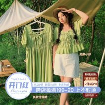 Women's large Summer 2021 Large L, large XL, large XXL, large XXL, large XXXL Dress singleton  commute easy thin Socket Short sleeve Solid color Korean version other have cash less than that is registered in the accounts Nylon, others fold puff sleeve 5.20 pleated chest short dress other bow