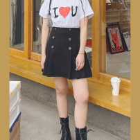 Women's large Spring 2021 Long black, short black Large L, large XL, large XXL, large XXL, large XXXL skirt singleton  commute easy moderate Solid color Korean version 3.15ab button skirt Button Middle-skirt other