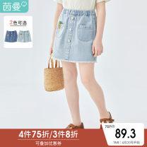 skirt 110cm 120cm 130cm 140cm 150cm 160cm Baby - light blue baby - denim Inman / Inman female Cotton 100% summer skirt leisure time Solid color A-line skirt cotton T381_ TM2076c Class B Summer 2021