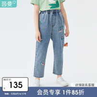 trousers Inman / Inman female 110cm 120cm 130cm 140cm 150cm 160cm Baby blue owl baby blue Embroidery Flower summer Ninth pants leisure time There are models in the real shooting Jeans Leather belt middle-waisted cotton Don't open the crotch Cotton 90.4% polyester 4.8% others 4.8% T381_ TM2061c
