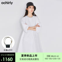 Dress Spring 2021 White 018 XS S M L XL Mid length dress singleton  elbow sleeve commute Crew neck middle-waisted Solid color zipper other routine Others 25-29 years old Ochirly / Ou Shili Simplicity zipper 51% (inclusive) - 70% (inclusive) cotton Same model in shopping mall (sold online and offline)