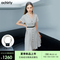 Dress Summer 2021 Apricot 870 black 090 XS S M L XL Mid length dress singleton  Short sleeve commute V-neck middle-waisted Dot other Big swing routine Others 25-29 years old Ochirly / Ou Shili lady Frenulum 1NY2080190 71% (inclusive) - 80% (inclusive) other