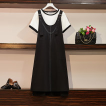 Women's large Summer 2021 black Dress Two piece set commute Straight cylinder thin Socket Short sleeve Solid color Korean version Crew neck routine polyester Three dimensional cutting routine 18-24 years old pocket 51% (inclusive) - 70% (inclusive) Medium length straps