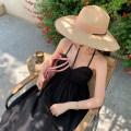 Dress Summer 2021 black S,M,L longuette singleton  Sleeveless commute High waist Solid color camisole zipper SQ20003 More than 95% cotton