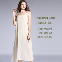 Dress Summer 2020 White, black, skin color Mid length dress singleton  Sleeveless commute Crew neck Loose waist Solid color Socket other other camisole 25-29 years old Type A Simplicity 91% (inclusive) - 95% (inclusive) Chiffon polyester fiber