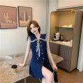 Women's large Summer 2021 Blue dress Large L, large XL, large XXL, s, M Dress singleton  Sweet moderate Socket Sleeveless Solid color Admiral Medium length 18-24 years old Short skirt Pleated skirt
