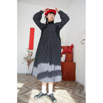 Dress Spring 2021 S,M,L Mid length dress singleton  Long sleeves Sweet Crew neck Loose waist Decor Socket Pleated skirt shirt sleeve Others 18-24 years old Deer and birds Fold, print More than 95% Chiffon polyester fiber solar system
