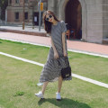 Dress Summer 2021 Black and white S,M,L,XL,XXL longuette singleton  Short sleeve commute lattice Socket A-line skirt other Type A Korean version cotton