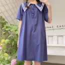 Dress Summer 2020 Dark blue, light blue Average size Mid length dress singleton  Short sleeve Sweet Solid color Other / other cotton college