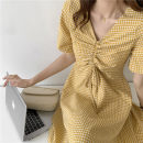 Dress Summer 2020 canary yellow S,M,L Mid length dress singleton  Short sleeve commute V-neck High waist lattice other Cake skirt routine Others 18-24 years old Type A Korean version Drawstring More than 95% other other