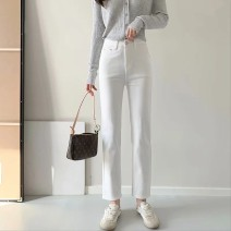 Jeans Spring 2021 white S,M,L,XL trousers High waist Straight pants routine 25-29 years old washing Cotton elastic denim light colour wimigirls