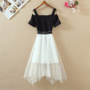 Dress Summer 2020 White, red, black S,M,L Mid length dress Fake two pieces Sleeveless Sweet One word collar middle-waisted Solid color Socket Irregular skirt routine camisole 18-24 years old Type A Yi Meiyuan Embroidery, thread Fashion skirt 81% (inclusive) - 90% (inclusive) Lace cotton