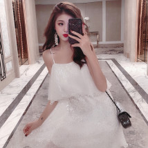 Dress Summer of 2018 white S code [collection concern minus 3 yuan] m code [collection concern minus 3 yuan] l code [collection concern minus 3 yuan] Mid length dress singleton  Sleeveless commute other zipper Ruffle Skirt other camisole 18-24 years old Korean version other other