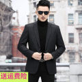 man 's suit black Others Fashion City routine 170/46,175/48,180/50,185/52,190/54,195/56 KCN-2023-1 Polyester 71% PVC 29% standard Double breasted Other leisure No slits middle age Long sleeves spring routine Business Casual Casual clothes Flat lapel Round hem lattice Polyester viscose 2020 Sanding