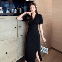 Women's large Summer 2021 black M [80-100 Jin], l [100-120 Jin], XL [120-140 Jin], 2XL [140-160 Jin], 3XL [160-180 Jin], 4XL [180-200 Jin] Dress singleton  commute Self cultivation thin Socket Short sleeve Solid color Korean version V-neck other Three dimensional cutting other Z33262 Other / other