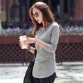 T-shirt grey S,M,L,XL,2XL,3XL,4XL Spring of 2019 Long sleeves Crew neck Self cultivation Medium length routine commute cotton 96% and above 25-29 years old Korean version classic Solid color P-089 Asymmetry