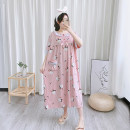 Nightdress Other / other Yellow, pink, green One size fits all Sweet Short sleeve Leisure home longuette summer Cartoon animation youth Crew neck cotton lace More than 95% pure cotton YXX-3333 200g and below