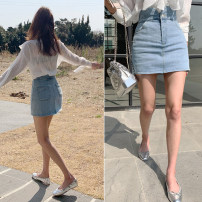 skirt Summer 2020 S,M,L wathet Short skirt commute High waist A-line skirt Solid color Type A 25-29 years old 91% (inclusive) - 95% (inclusive) Denim cotton Korean version 201g / m ^ 2 (including) - 250G / m ^ 2 (including)