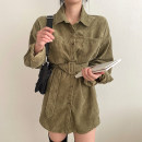 Dress Autumn 2020 Army green, Dark Khaki S, M Short skirt singleton  Long sleeves commute other High waist Solid color Single breasted other routine Others 18-24 years old 31% (inclusive) - 50% (inclusive) corduroy other