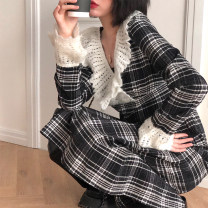 Dress Winter 2020 Picture color M, L longuette singleton  Long sleeves Lotus leaf collar lattice Type A cotton
