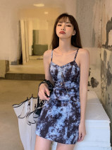 Dress Europe and America Printing, chain, tie dyeing Sleeveless street other Condom other polyester fiber 16622 Summer 2021 81% (inclusive) - 90% (inclusive) S,M,L