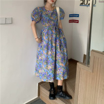 Dress Summer 2020 Graph color Average size longuette singleton  Short sleeve commute square neck High waist Decor Socket Big swing puff sleeve Others 18-24 years old Type X other other