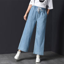 trousers Other / other female summer Ninth pants leisure time There are models in the real shooting Jeans Leather belt middle-waisted Denim Don't open the crotch 810 Hibiscus Class B 9, 10, 11, 12, 13, 14
