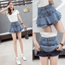 skirt Summer 2021 S,M,L,XL,2XL White, light blue, dark blue Short skirt commute High waist A-line skirt Solid color Type A 81% (inclusive) - 90% (inclusive) Denim Ruffles, buttons, zippers