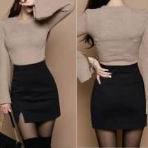 skirt Spring 2021 XS,S,M,L,XL Black [tweed elastic skirt] - 7kd, coffee [tweed elastic skirt] - 07A, khaki [tweed elastic skirt] - UMC, apricot [tweed elastic skirt] - B30 Short skirt High waist skirt 117ACA07 Solid color